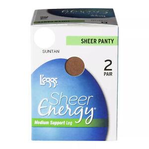 4 Pairs L'eggs Sheer Energy All Sheer Pantyhose size A Sheer Nude/Suntan (A5)