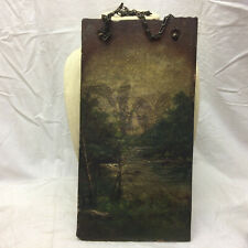 Vintage Oil Painting on Clay Slab c1890s River Scene Antique