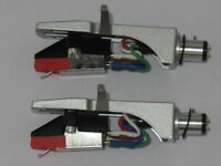 2 x Silver Headshells Stereo Moving Magnetic Cartridge + Diamond Stylus Fitted
