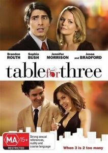 """BRANDON ROUTH, SOPHIA BUSH, JESSE BRADFORD      """"TABLE FOR THREE""""    R.4    DVD"""