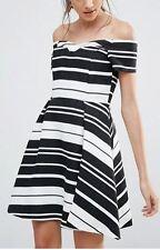 Oasis Textured Stripe Bardot Dress  (T28) RRP £75.00 UK10- Black/Ivory