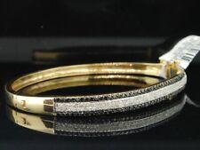 Black Diamond Bangle Ladies 14K Yellow Gold Round Pave Bracelet 1.42 Tcw.