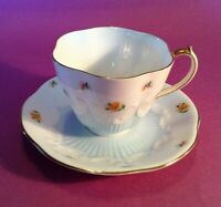 Queen Anne Tea Cup And Saucer - Pale Blue & White - Tiny Yellow Mums - England