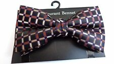 MENS BOW TIE CLIP ON BLACK BROWN TAN CHECKERED BOWTIE  PRE-TIED BOW CLIP