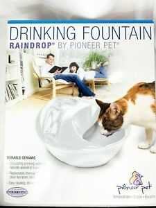 Pioneer Pet Raindrop Water Fountain Cats Small Dogs White Ceramic Drinking Bowl