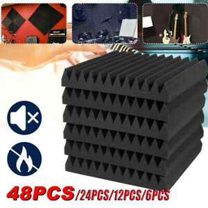 UK 6-48pcs Acoustic Wall Panel Tiles Studio Sound Proofing Insulation Foam Pads