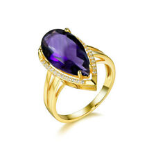 Natural Africa Amethyst Pear Gemstone Jewelry Ring .925 Sterling Silver Gold