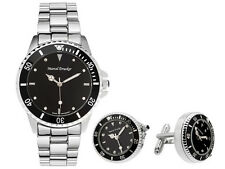 Marcel Drucker Men's Stainless Steel Watch & Cufflinks Set