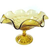 "Viking Glass Georgian Honeycomb 6.5"" Crimped Amber Bowl Footed Pedestal Vintage"