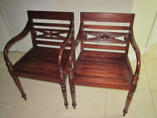 Solid Wood side  Arm Chairs Cherry Wood Color Set of 2     Shipping not Included