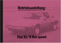 Fiat X1/9 Five Speed Bedienungsanleitung Betriebsanleitung Handbuch Manual X 1/9