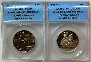 (2) 2019-D & S American Legion 100th Anniversary Half Dollars ANACS MS70 & PR70