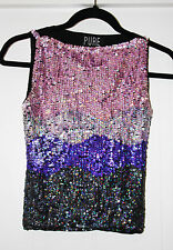 LADIES PURE ORIGINAL SEQUINED FITTED ONE SIZE TOP USED