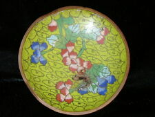 VINTAGE GREEN, PINK FLORAL CLOISONNE CLOUD DISH PLATE - CHINESE **ESTATE HOARD**
