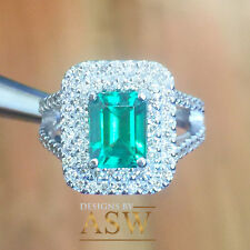 14K SOLID WHITE GOLD EMERALD CUT SIMULATED DIAMOND ENGAGEMENT RING HALO 3.00CT