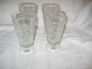 4 vintage pattern glass / cut glass water / wine drink pedestal tumblers glasses