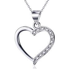 Herz mit weißen Kristallen Liebe Kette mit Anhänger 925 Sterling Silber