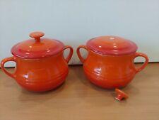 2x Le Creuset Volcanic Orange Small Bean Pots 0.5L 16oz  S25