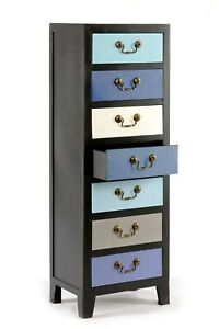 Tall Cabinet Chest of 7 Drawers Wooden Rustic Shabby Chic Storage Cupboard Blue