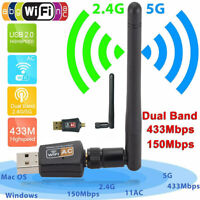 WiFi USB Adapter 600 Mbps 2.4/5Ghz Dual Band Wireless Network  Dongle 802.11AC
