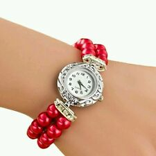 Red caso Pearl Elastico Donna Orologio in Pelle Band Analog Quartz Polso Quadrante