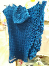 Blue Handmade-Crochet Baby Blanket/with matching  Bonnet Hat