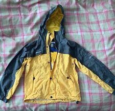 Weatherproof Boy Windbreaker Jacket Size 10 12 Hood Water Repellent Yellow Gray