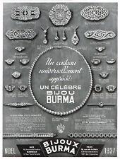 *** Bijoux BURMA *** publicité - 1937 - format 24,5 x 33