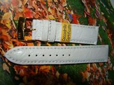 Cinturino in pelle COCCODRILLO, ansa 20 mm, BIANCO , watch band strap