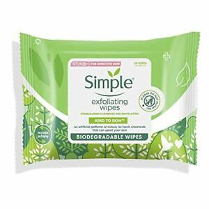Simple Kind to Skin Exfoliating Hypoallergenic Biodegradable Facial Wipes for