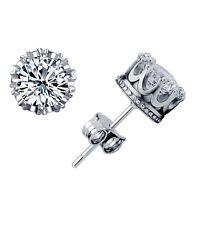 New Charming Women Lady Silver Plated Crown Crystal Ear Stud Wedding Earrings