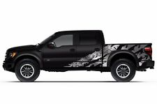 Vinyl Graphics Decal Wrap Kit for 2010-2014 Ford F-150 RAPTOR SVT SHREDS Silver