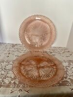 (2) VINTAGE MISS AMERICA PINK DEPRESSION GLASS GRILL DIVIDED PLATES~MINTY~