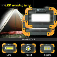 2PCS USB Rechargeable LED Work Light Camping Security Floodlight Emergency Lamps