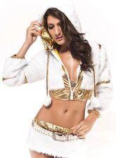 Sexy Women's White Gold Faux Fur 3 Piece Fashion Set Club Wear
