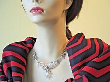 Antique Art Deco Vintage Colombian Emerald Necklace Platinum 18K E-2.80CT D-3CT