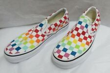 Vans Checkerboard Rainbow Slip-On Canvas Skate Shoes Men-5.0/Women-6.5 NWOB