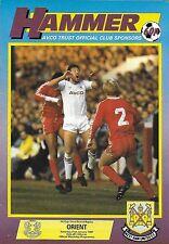 Football Programme>WEST HAM UNITED v ORIENT Jan 1987 FAC
