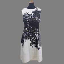 Carmen Marc Valvo Womens B/W Knee-Length Embroidered Sheath Dress Size 6