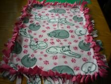 Handmade fleece tie blanket of gray and white cats sleeping for a small pet