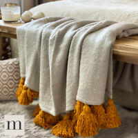 Luxury Large Soft Woollen Feel Grey Mustard Yellow Tassel Sofa Bed Blanket Throw