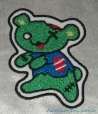 Embroidered Adorable Green Zombie Bear Teddy Monster Patch Iron On Sew On USA