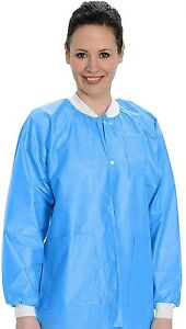 Disposable Lab Coat MEDIUM 10PK Protective Sanitary Gown Blue Medical Restaurant