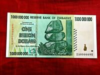 ZIMBABWE 1 BILLION DOLLAR ZA0000095 EXT LOW/N BANKNOTE BANK NOTE  REPLACEMENT