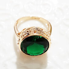 Gorgeous 5Ct Green Emerald Round Ring Engagement Wedding Size 6.5 18K R615