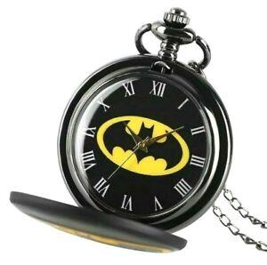 Batman Pocket Watch Enamel Silver Quartz Movement With Pendant Necklace Gift