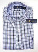 NWT $98 Polo Ralph Lauren LS Dress Shirt Mens Size 18 34/35 Blue Plaid Oxford