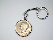 Vintage $.50 Kennedy bezel coin holder key chain with coin