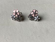 Brand New Solid Sterling Silver With Enamel Flower Earrings.