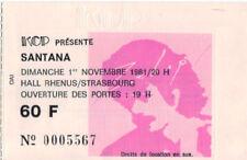 ticket billet used stub place concert SANTANA 1981 Strasbourg FRANCE